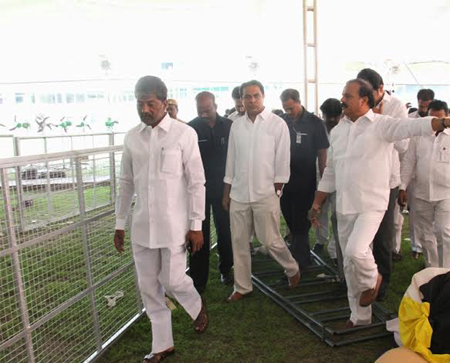 KTR inspects the party pleenary arrangements