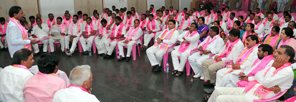 KCR addressing to Party activists