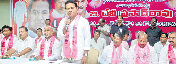 KTR addressing in Deviprasad election campaign