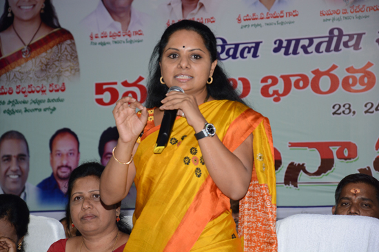 Kalvakuntla-Kavitha-addressing-in-TNGO-Mahila-sadassu